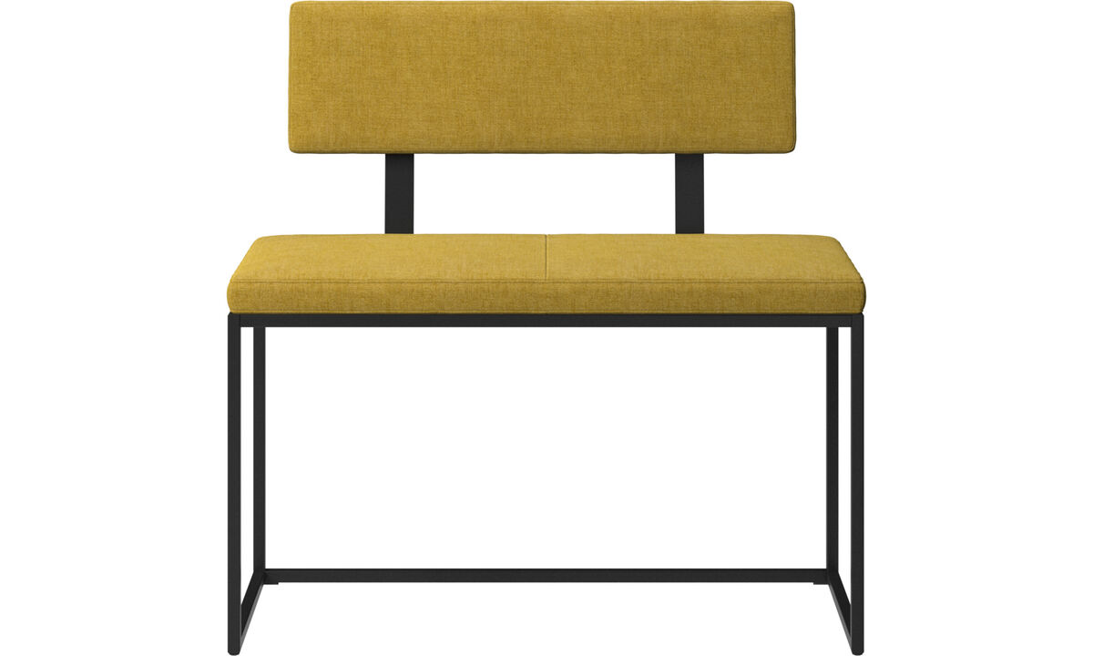 Benches - London small bench with cushion and backrest - Yellow - Fabric