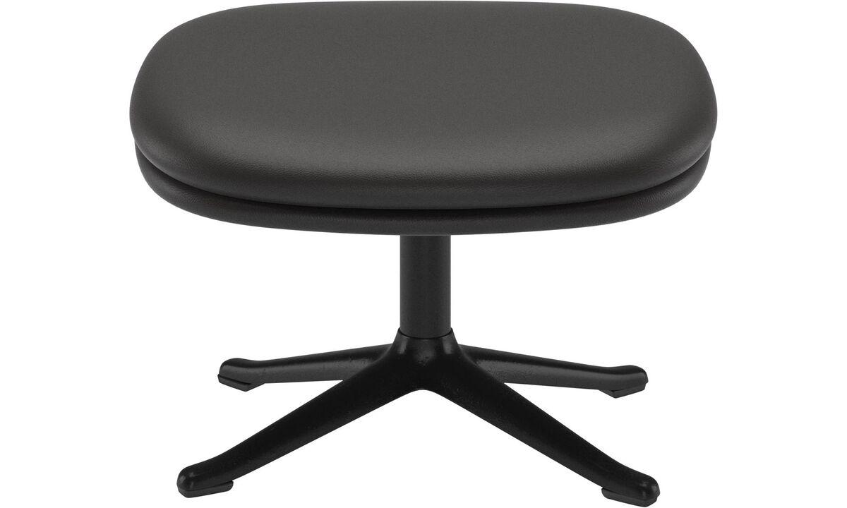 Ottomans - Adelaide footstool - Black - Leather