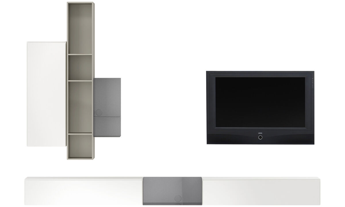 Wall systems - Lugano wall mounted wall system with drop down doors - Grey - Lacquered