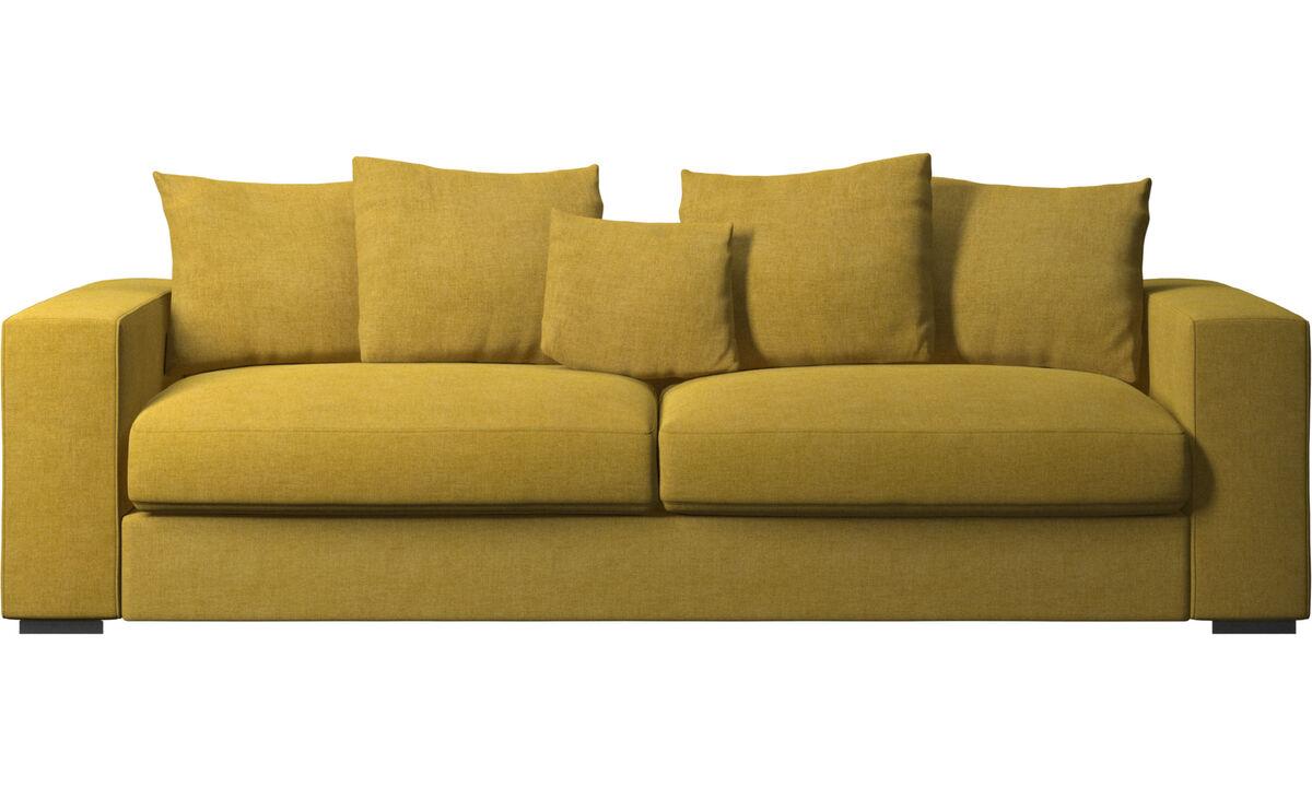 Sofás de 3 plazas - Sofá Cenova - En amarillo - Tela