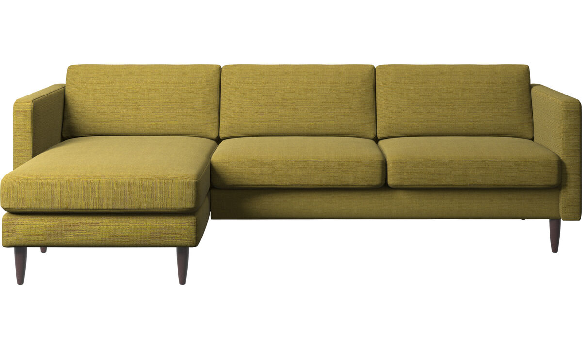 Chaise lounge sofas - Osaka sofa with resting unit, regular seat - Yellow - Fabric