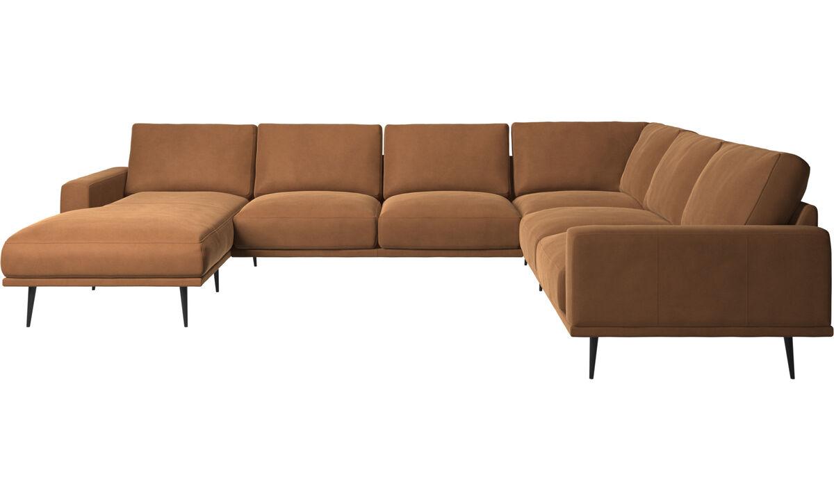 Sofás esquineros - sofá esquinero Carlton con módulo chaise-longue - En marrón - Piel