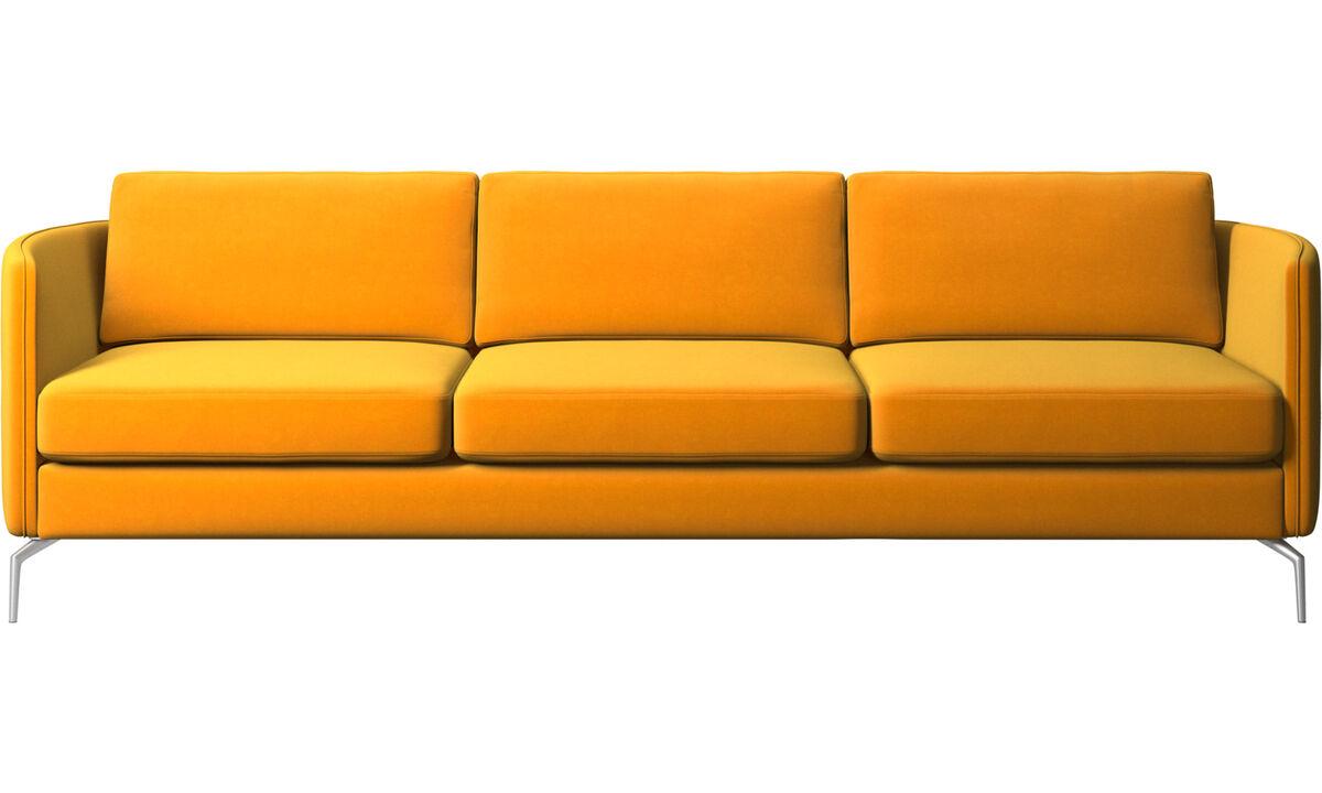 Sofás de 3 plazas - sofá Osaka, asiento regular - Naranja - Tela