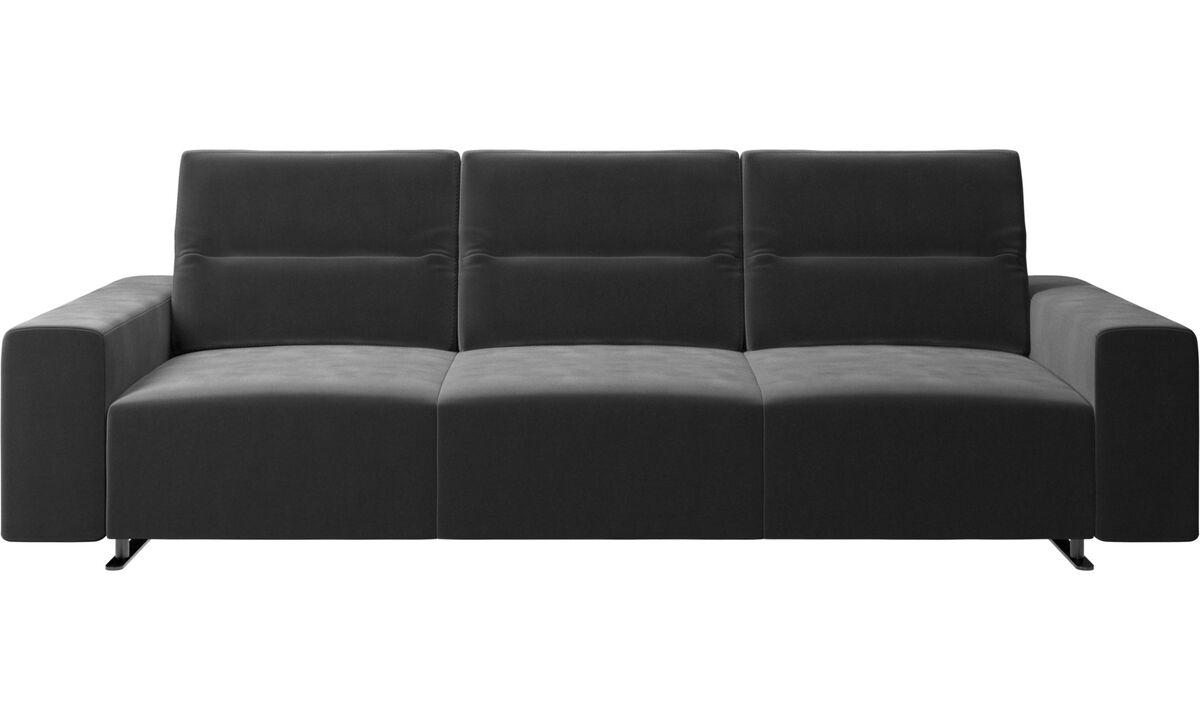 3 seater sofas - Hampton sofa with adjustable back - Black - Fabric