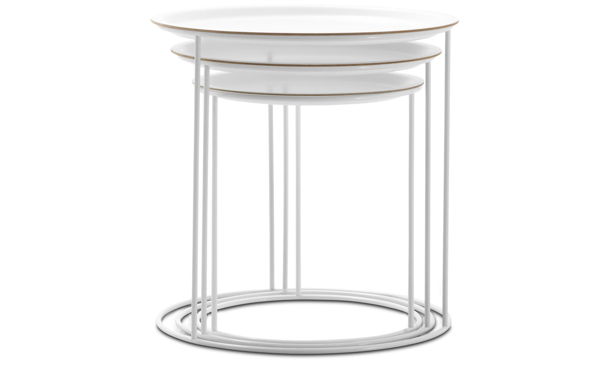 Coffee Tables   Cartagena Nesting Tables   Round   White   Lacquered