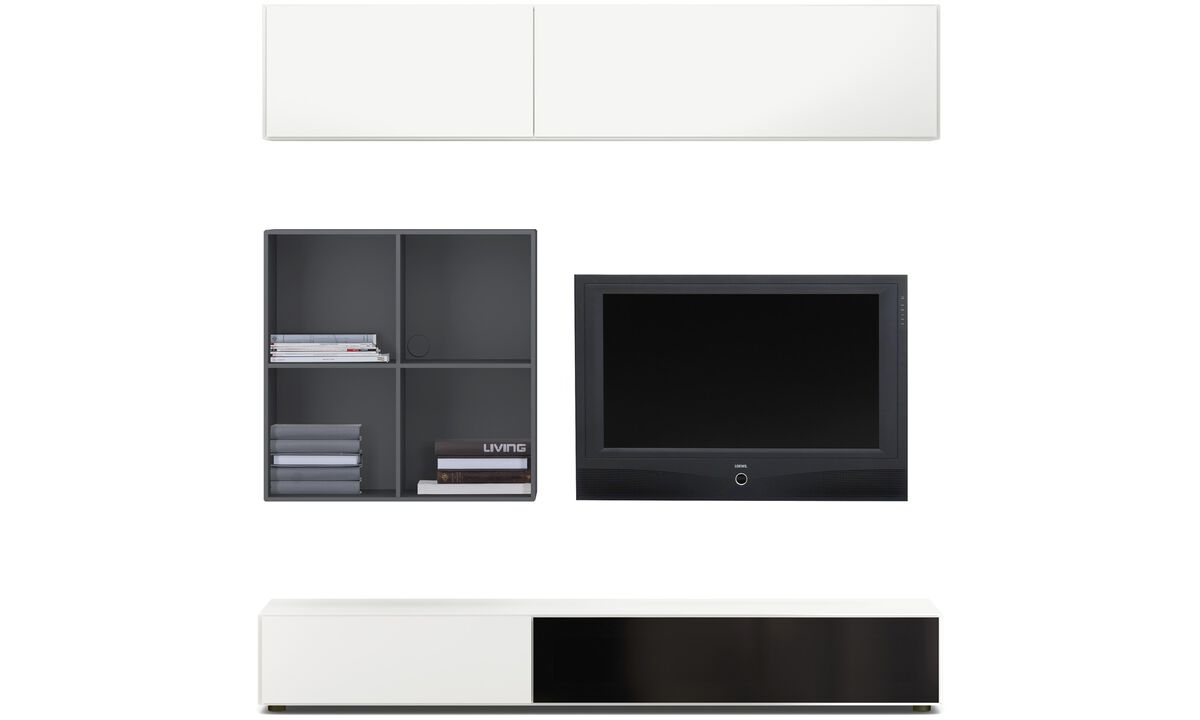 Wall Units - Lugano wall system with drawer, drop down and flip up doors - Grey - Lacquered