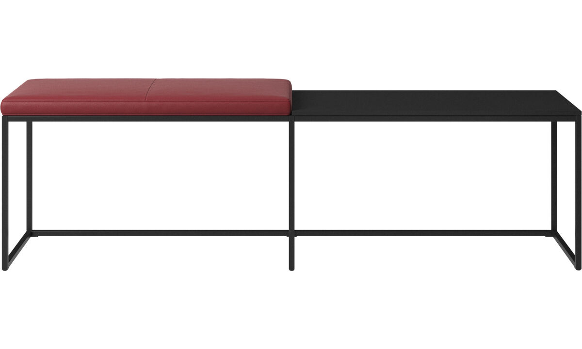Benches - London large bench with cushion and shelf - Red - Leather