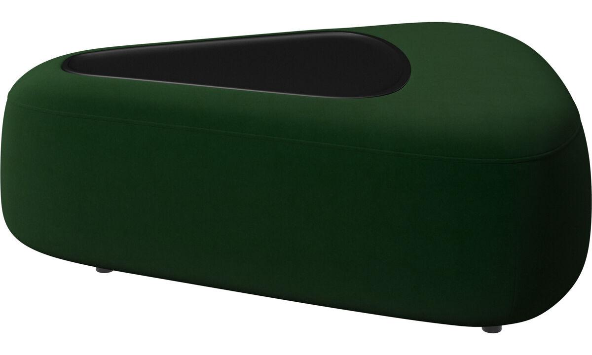 Модульные диваны - tрехугольный пуфик Ottawa с подносом и USB - Зеленый - Tкань