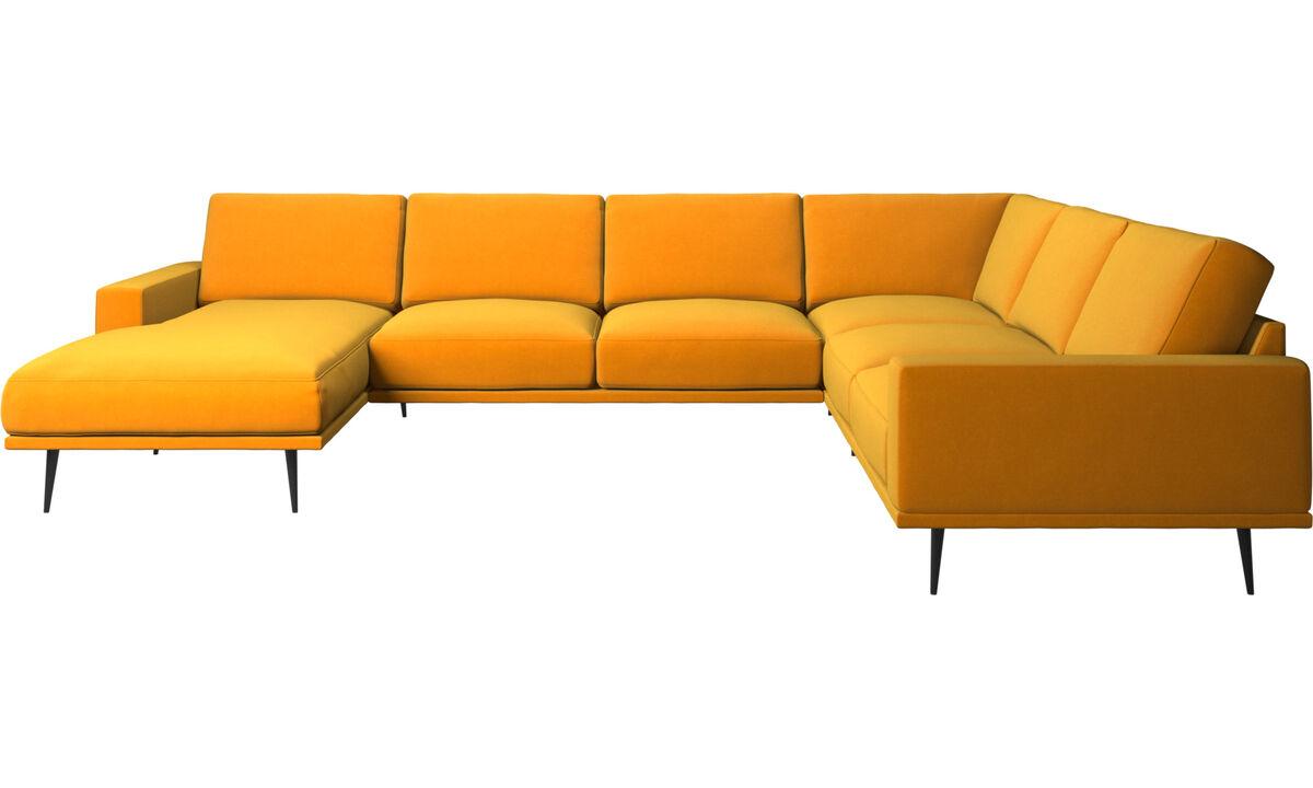 Corner sofas - Carlton corner sofa with resting unit - Orange - Fabric