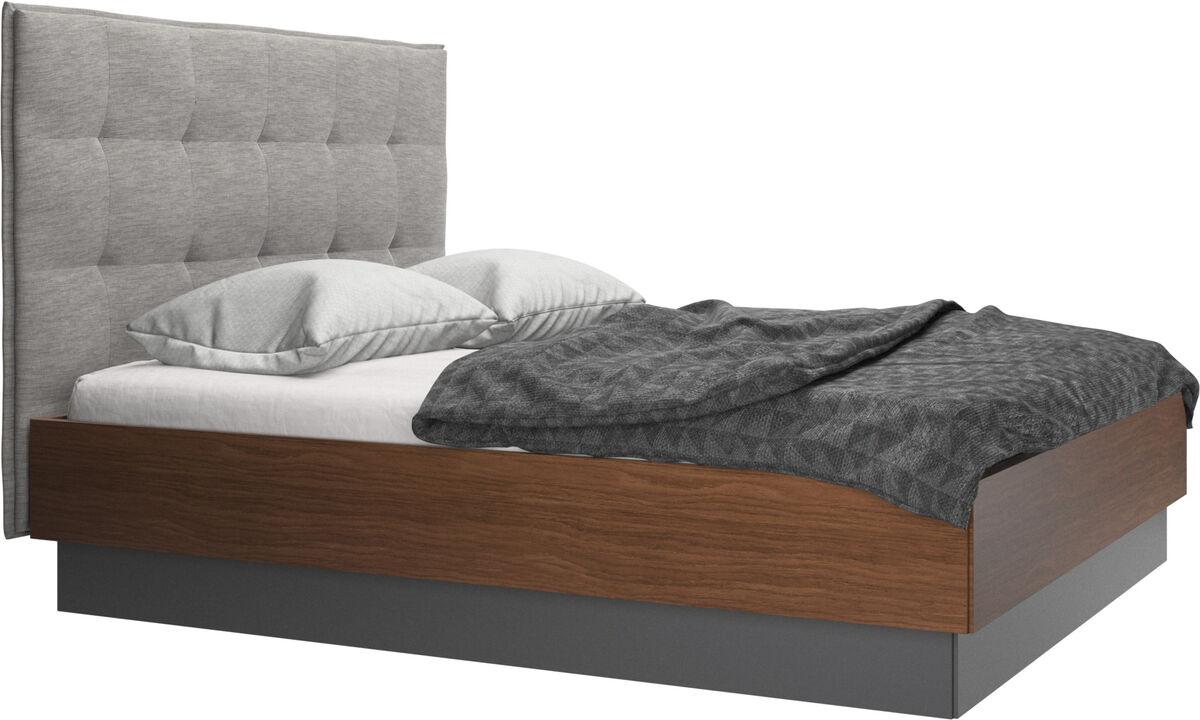 Camas - Cama con canapé Lugano, estructura elevable y tablado, no incluye colchón - Morado - Tela