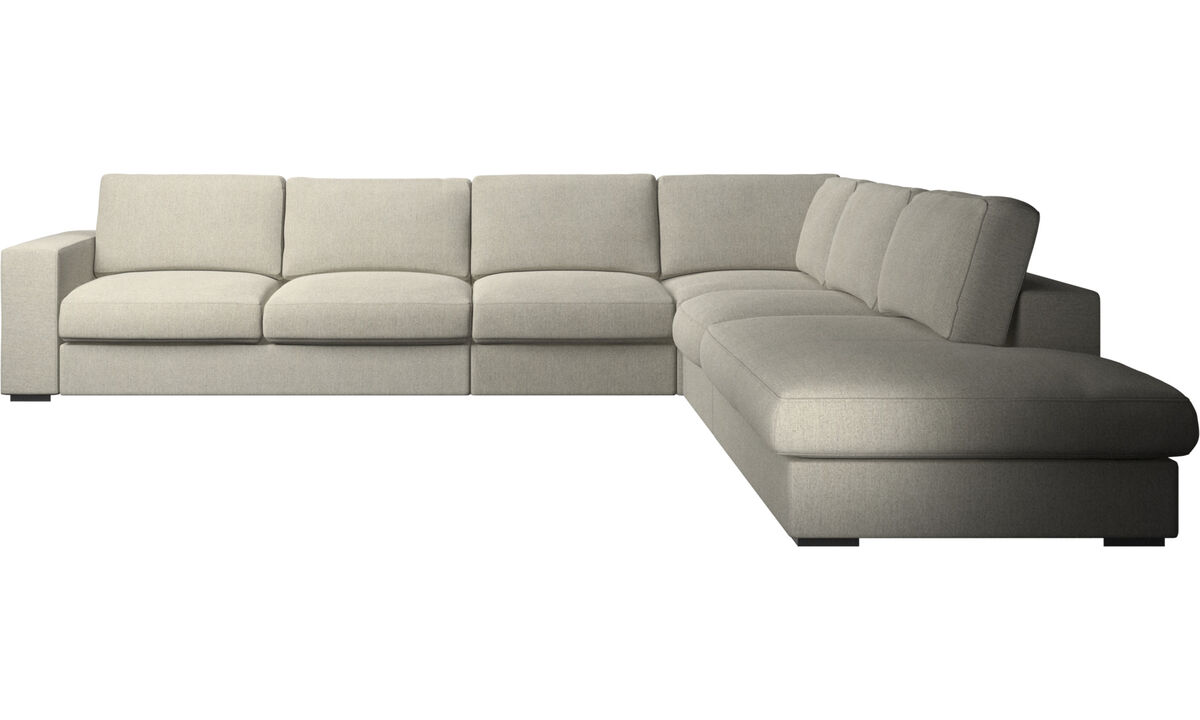 Corner sofas - Cenova corner sofa with lounging unit - Beige - Fabric