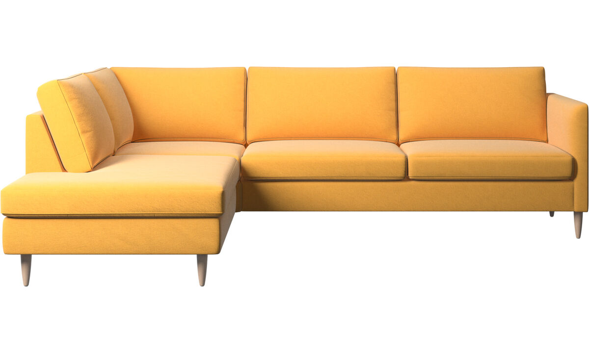 Sofas with open end - Indivi corner sofa with lounging unit - Yellow - Fabric