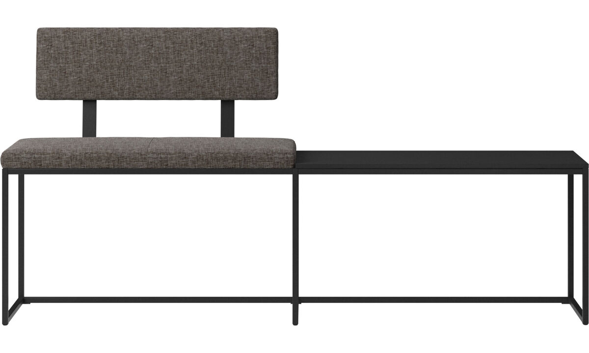 Benches - London large bench with cushion, shelf and backrest - Brown - Fabric