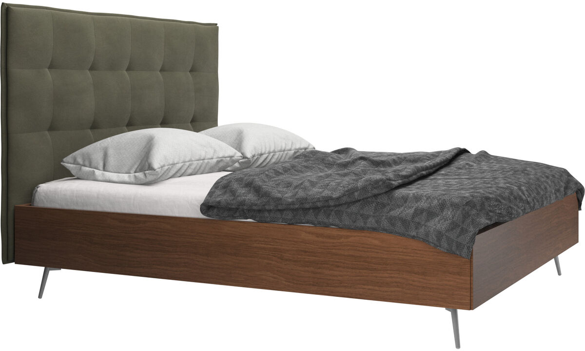 New beds - Lugano bed, excl. mattress - Green - Leather