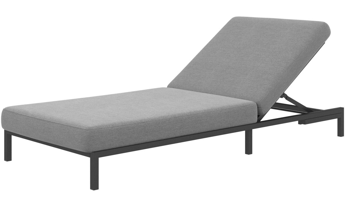 Modular sofas - Rome sun lounger without armrest - Grey - Fabric