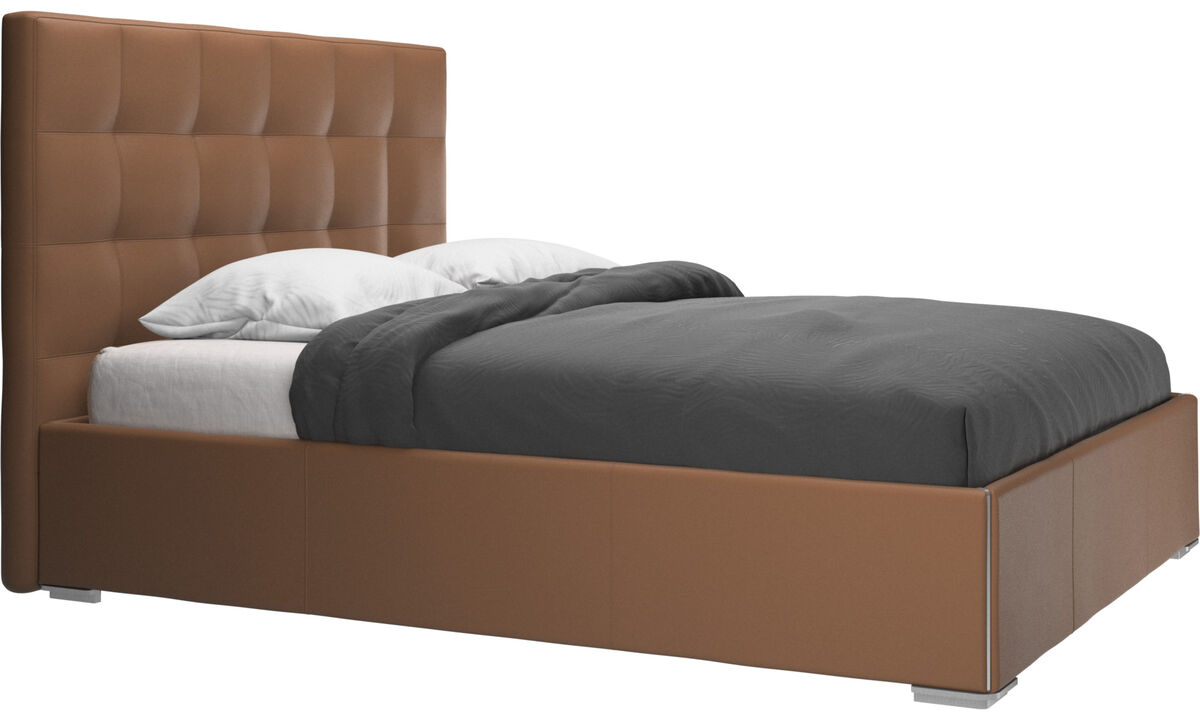 Camas - cama Mezzo, no incluye colchón - En marrón - Piel