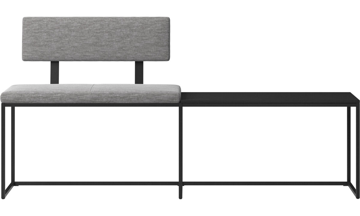 Benches - London large bench with cushion, shelf and backrest - Grey - Fabric