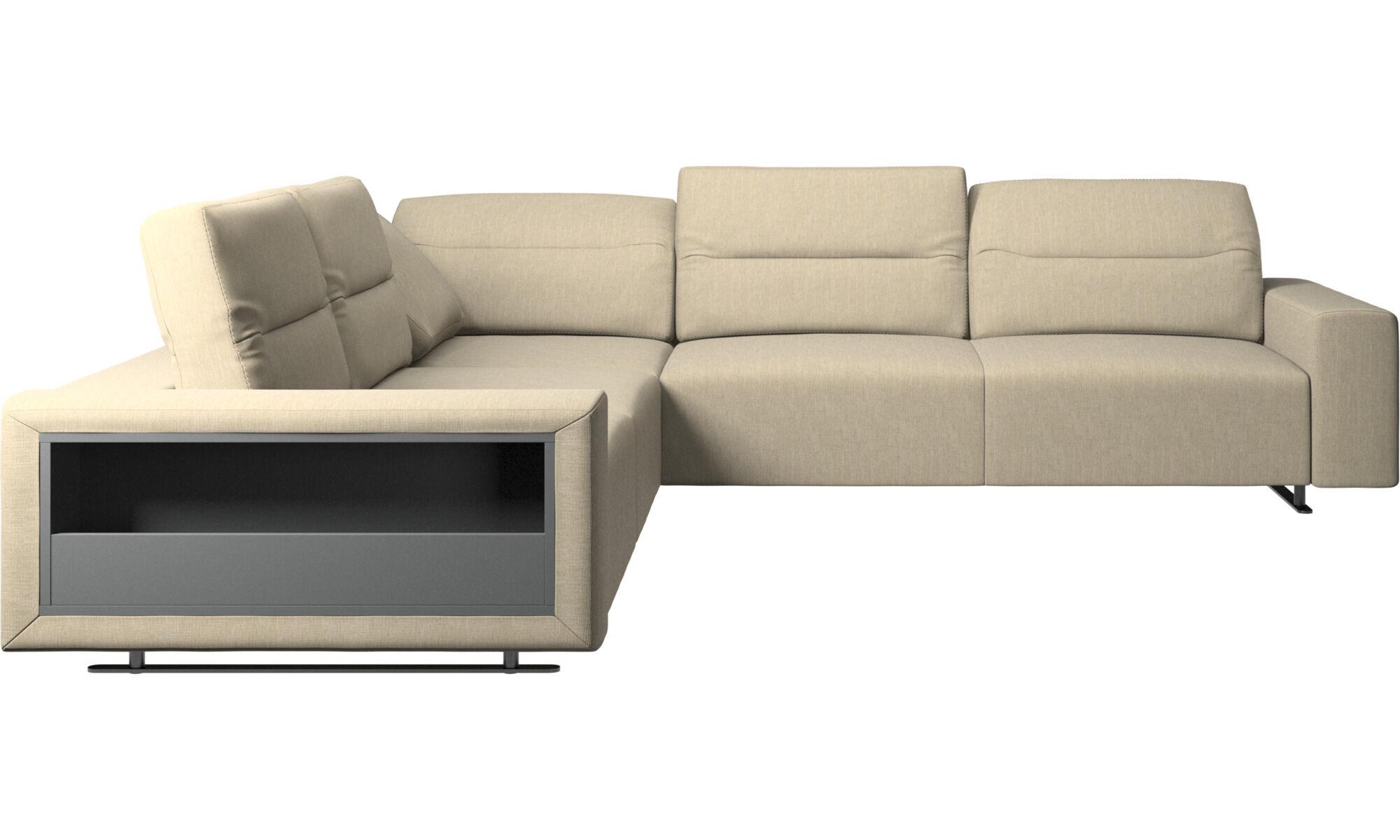 Corner Sofas   Hampton Corner Sofa With Adjustable Back And Storage   Brown    Fabric