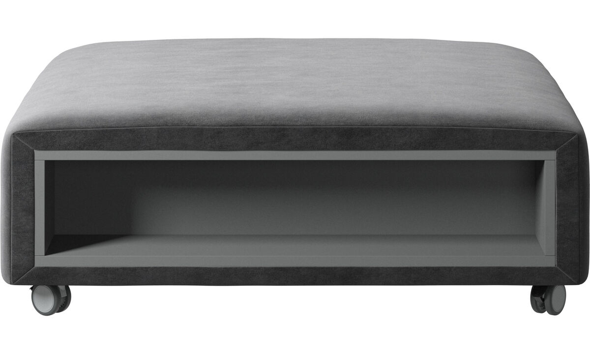 New designs - Hampton pouf on wheels with storage left and right sides - Gray - Fabric