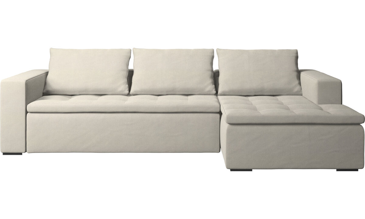 Chaise longue sofas - Mezzo sofa with resting unit - White - Fabric