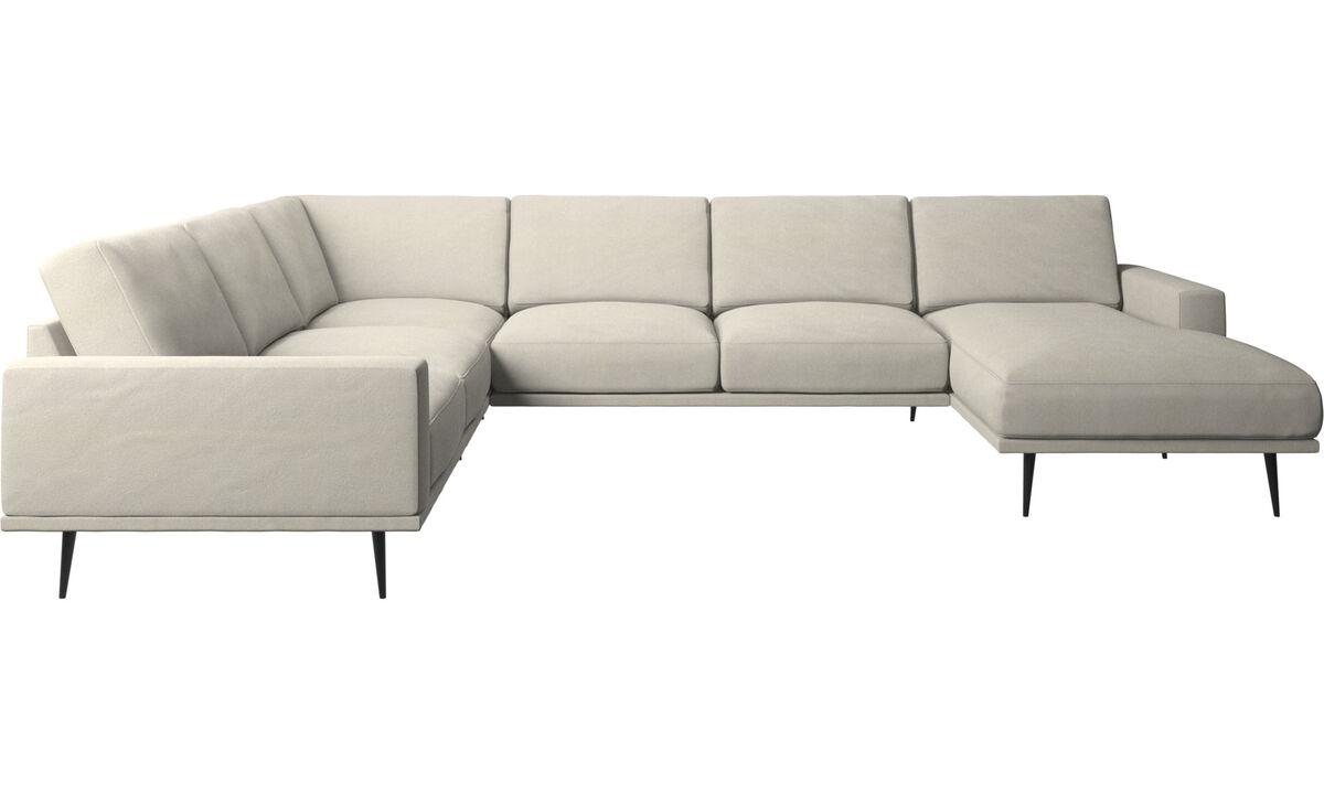 Chaise lounge sofas - Carlton corner sofa with resting unit - White - Fabric