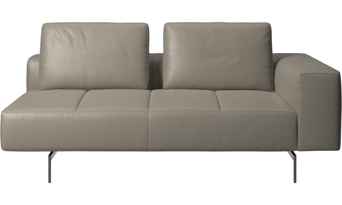 2.5 seater sofas - Amsterdam 2,5 seating module, armrest right - Grey - Leather