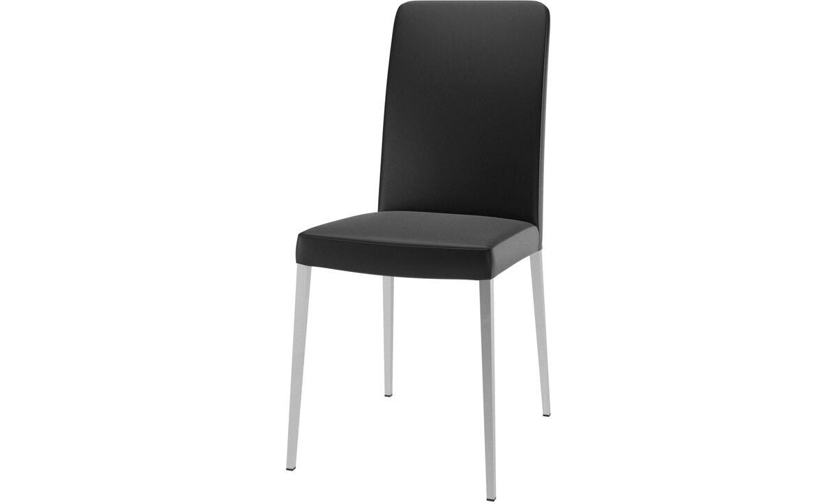 Sillas de comedor - silla Nico - En negro - Piel