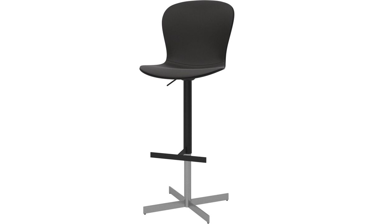 Bar stools - Adelaide barstool with gas cartridge - Black - Leather