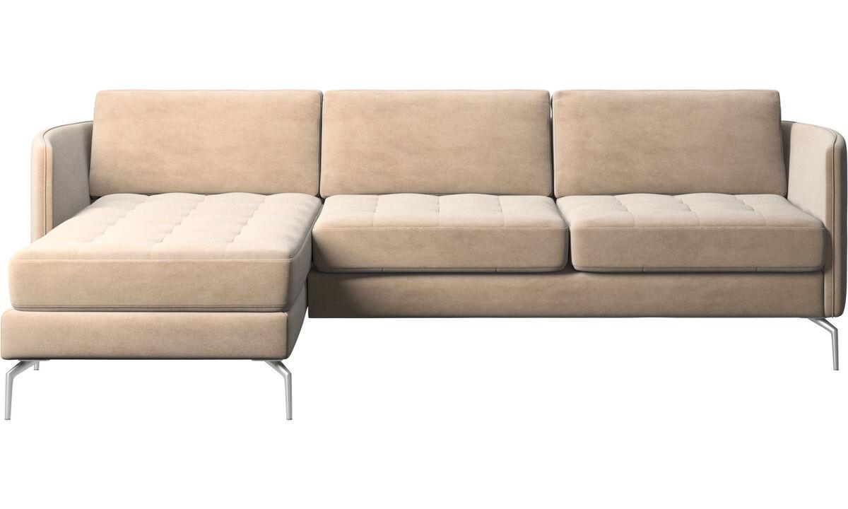 Sofás com chaise - Sofá Osaka com módulo chaise-longue, assento tufado - Bege - Tecido