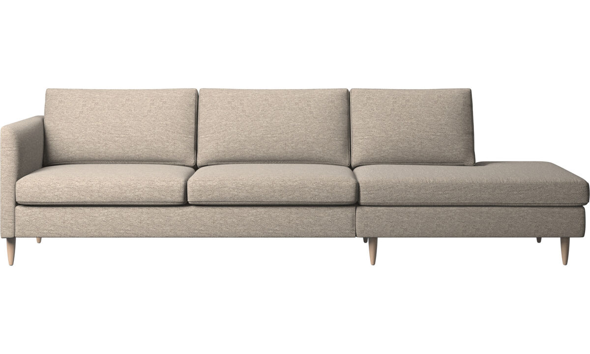 Sofas with open end - Indivi sofa with lounging unit - Beige - Fabric