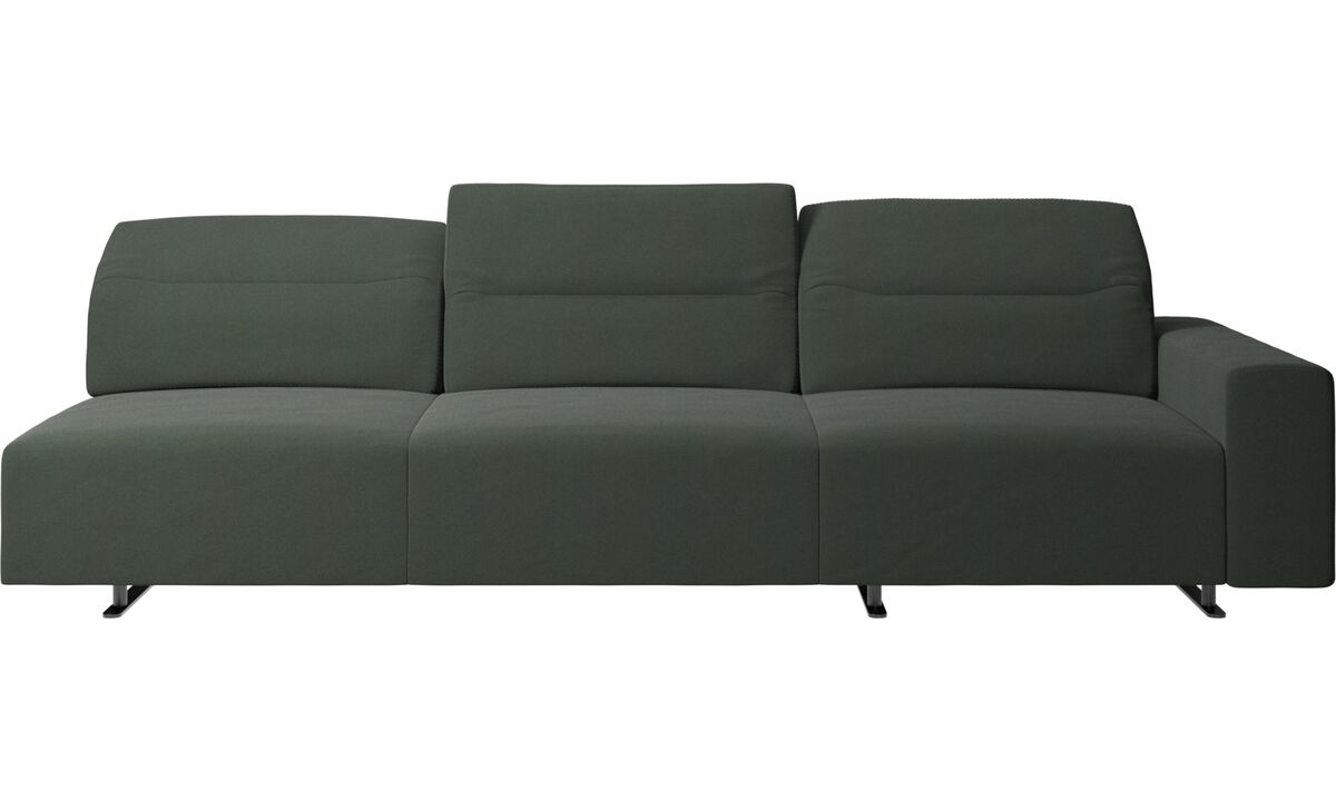 3 seater sofas - Hampton sofa with adjustable back and storage on the right side - Green - Fabric
