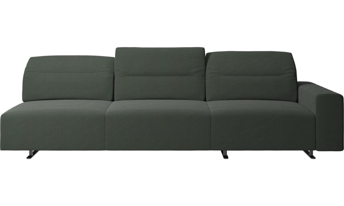 Sofás de 3 lugares - Sofá de canto Hampton com encosto ajustável e armazenamento na lateral direita - Verde - Tecido
