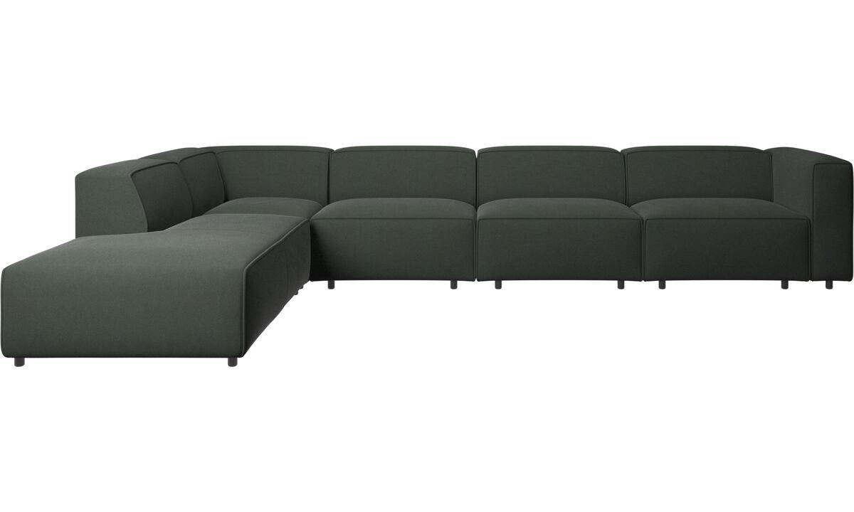 躺卧沙发 - Carmo 转角功能沙发 - 绿色 - 布艺