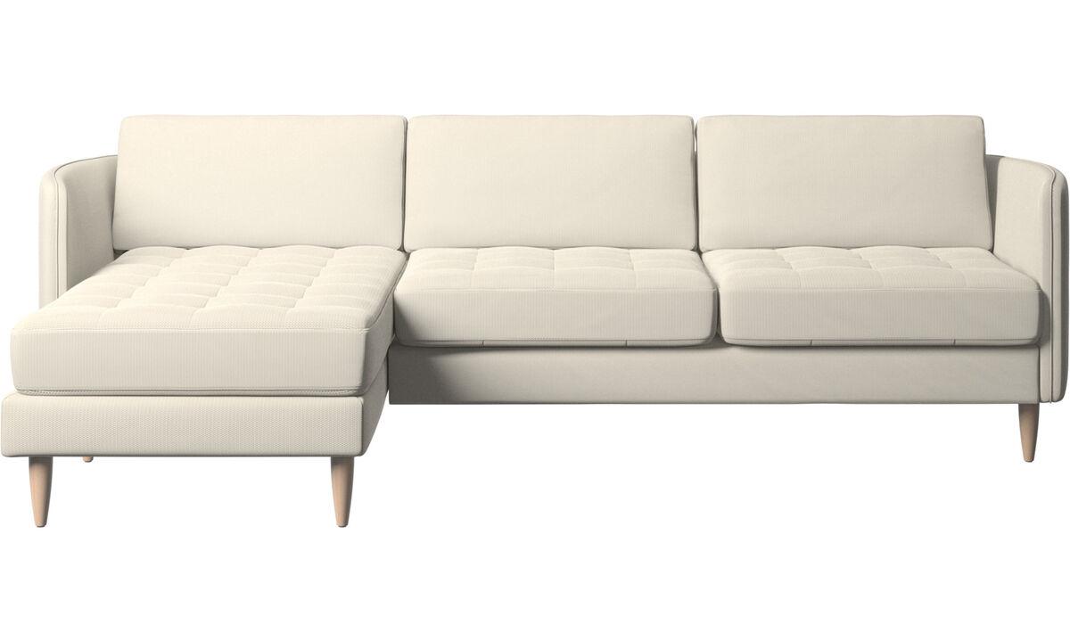 Chaise lounge sofas - Osaka sofa with resting unit, tufted seat - White - Fabric