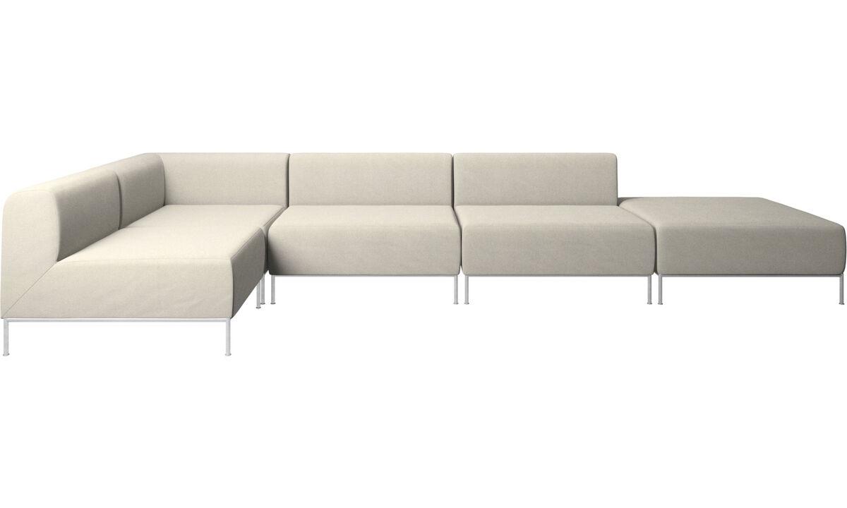 Corner sofas - Miami corner sofa with footstool on right side - White - Fabric