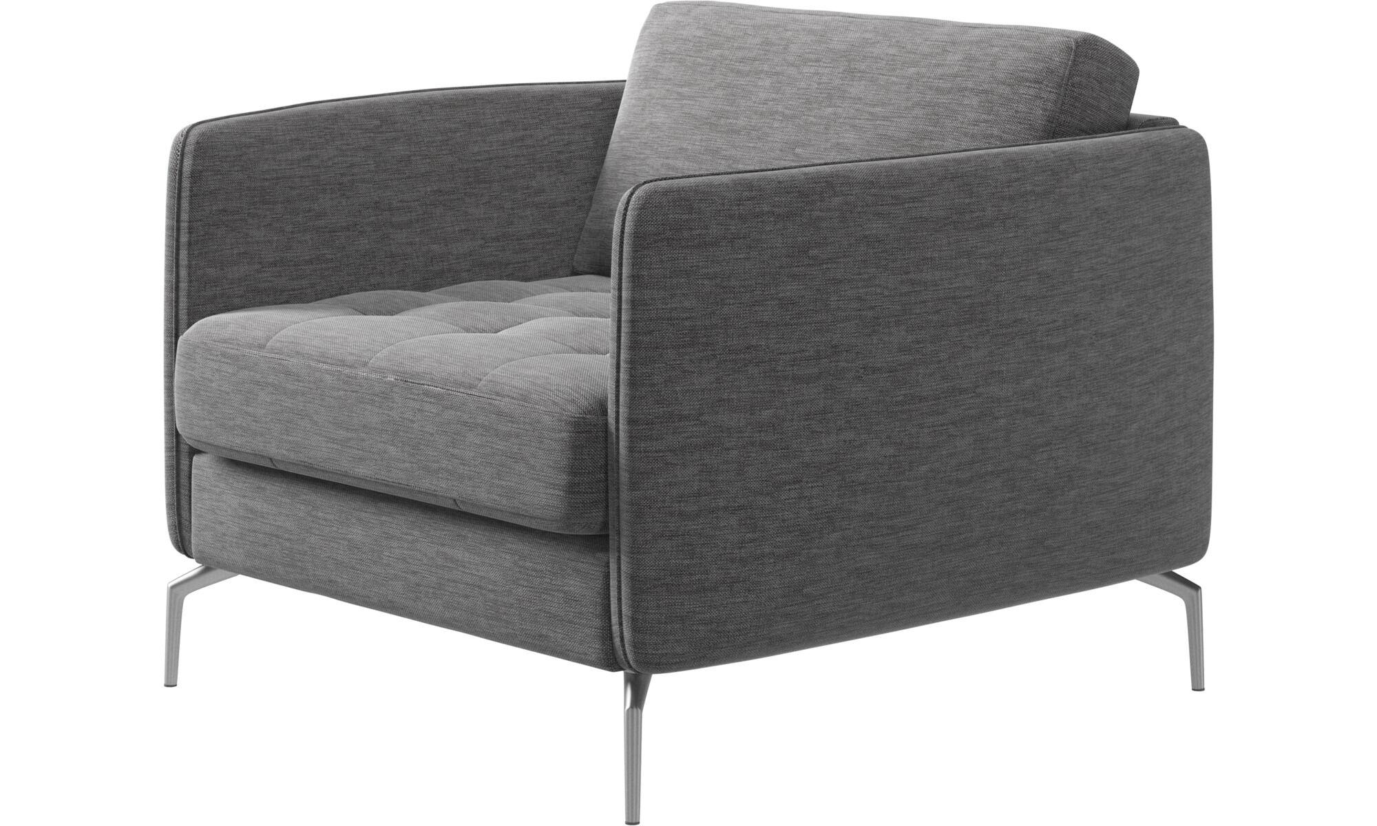 Armchairs   Osaka Chair, Tufted Seat   Gray   Fabric