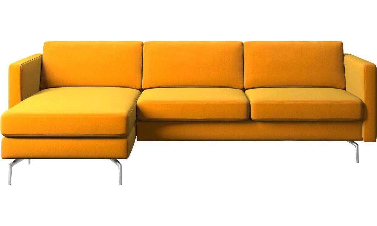 Sofás con chaise longue - sofá Osaka con módulo chaise-longue, asiento regular - Naranja - Tela