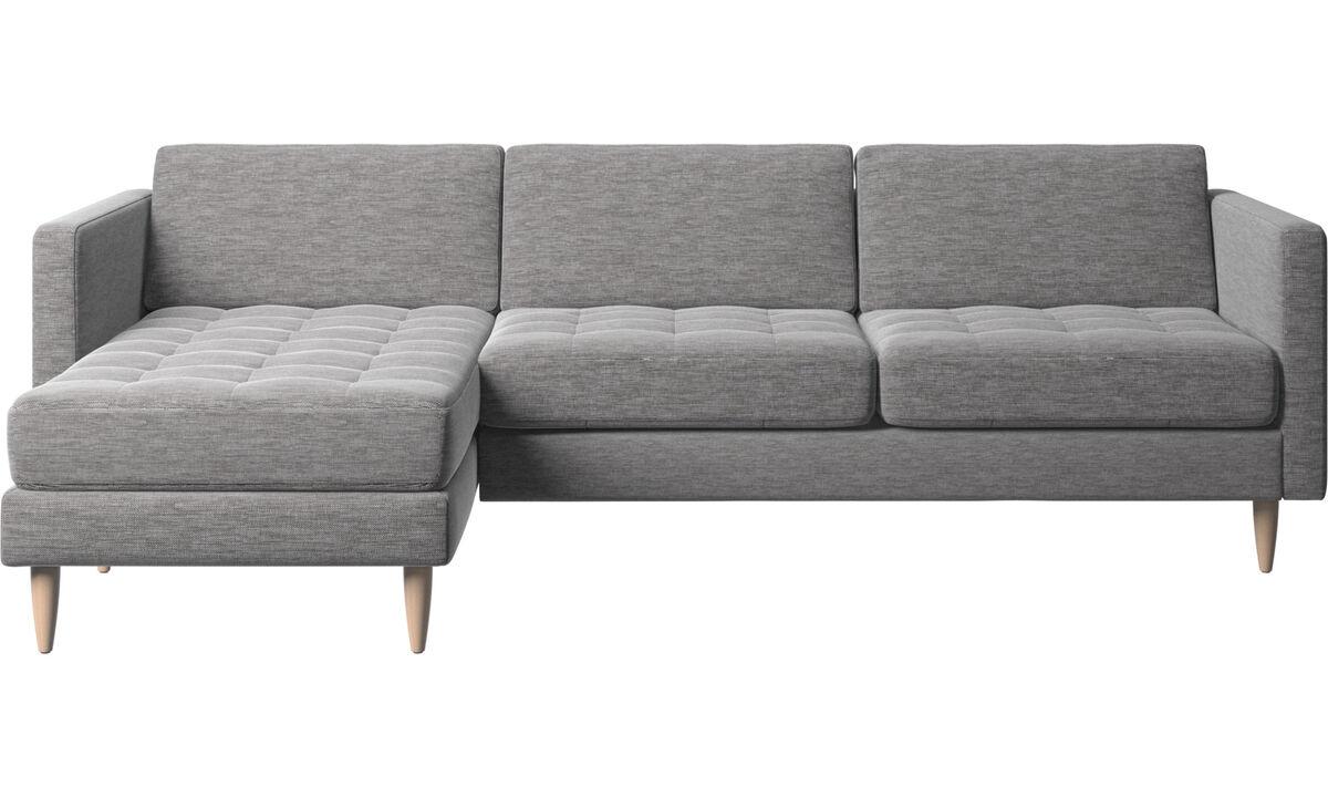 Sofás com chaise - Sofá Osaka com módulo chaise-longue, assento regular - Cinza - Tecido
