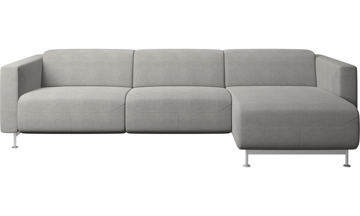 Chaise lounge sofas - Parma reclining sofa with chaise lounge - Grey - Fabric