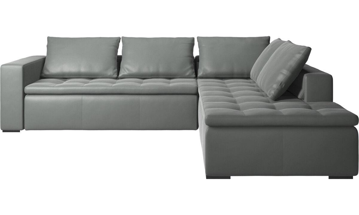 Sofas - Mezzo corner sofa with lounging unit - Gray - Leather