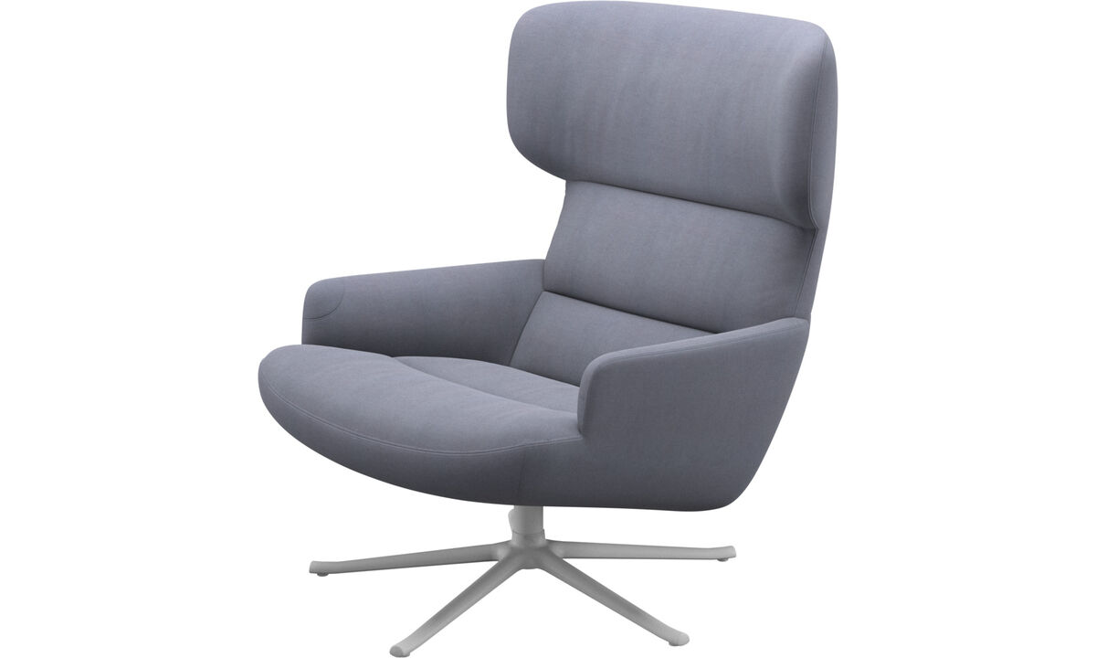 Armchairs - Trento chair with swivel function - Blue - Fabric