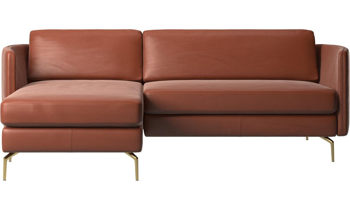 Canapés avec chaise longue - Canapé Osaka avec chaise longue, assise classique - Marron - Cuir