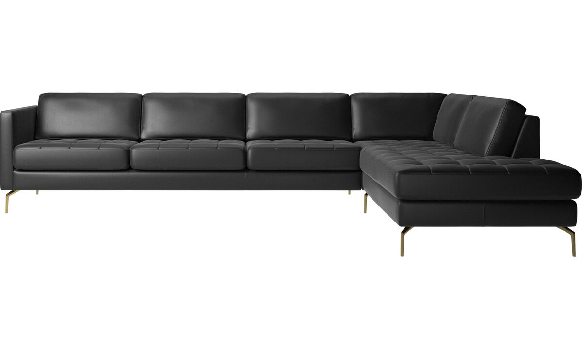 Sofas with open end - Osaka corner sofa with lounging unit, tufted seat - Black - Leather