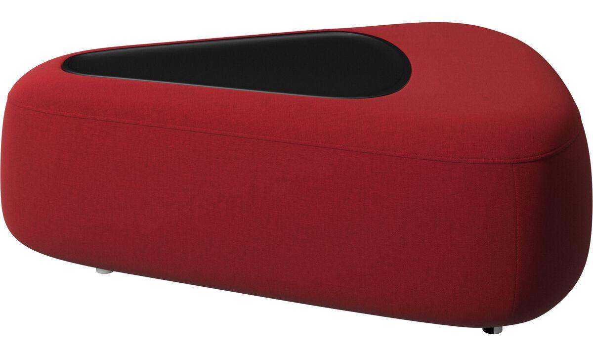 Apoio de pés - pufe Ottawa triangular com bandeja e carregador USB - Vermelho - Tecido