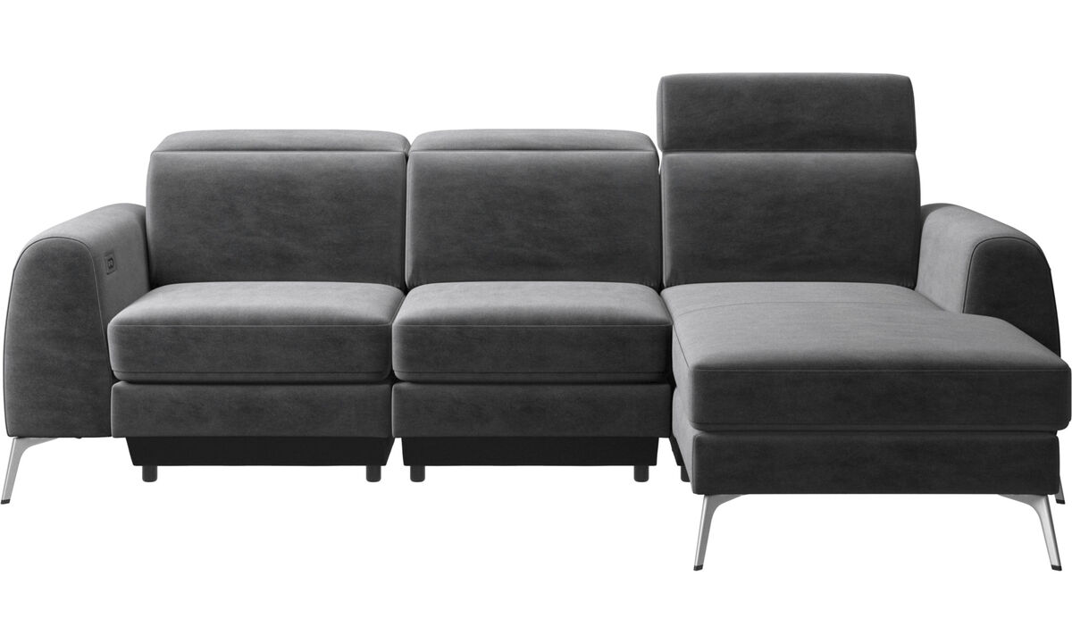 New designs - Madison sofa with resting unit and adjustable headrest - Gray - Fabric