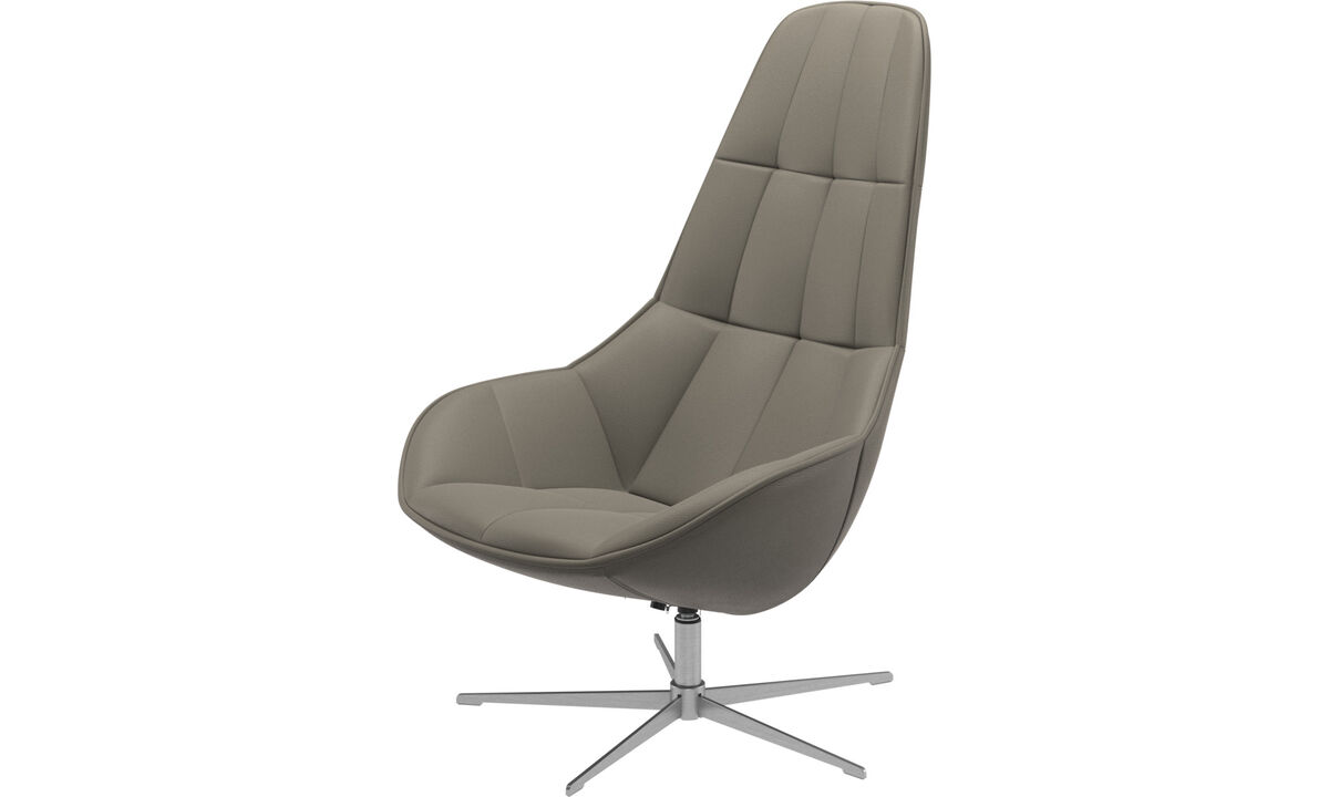 Armchairs - Boston chair with swivel function. Also available with tilt function - Grey - Leather