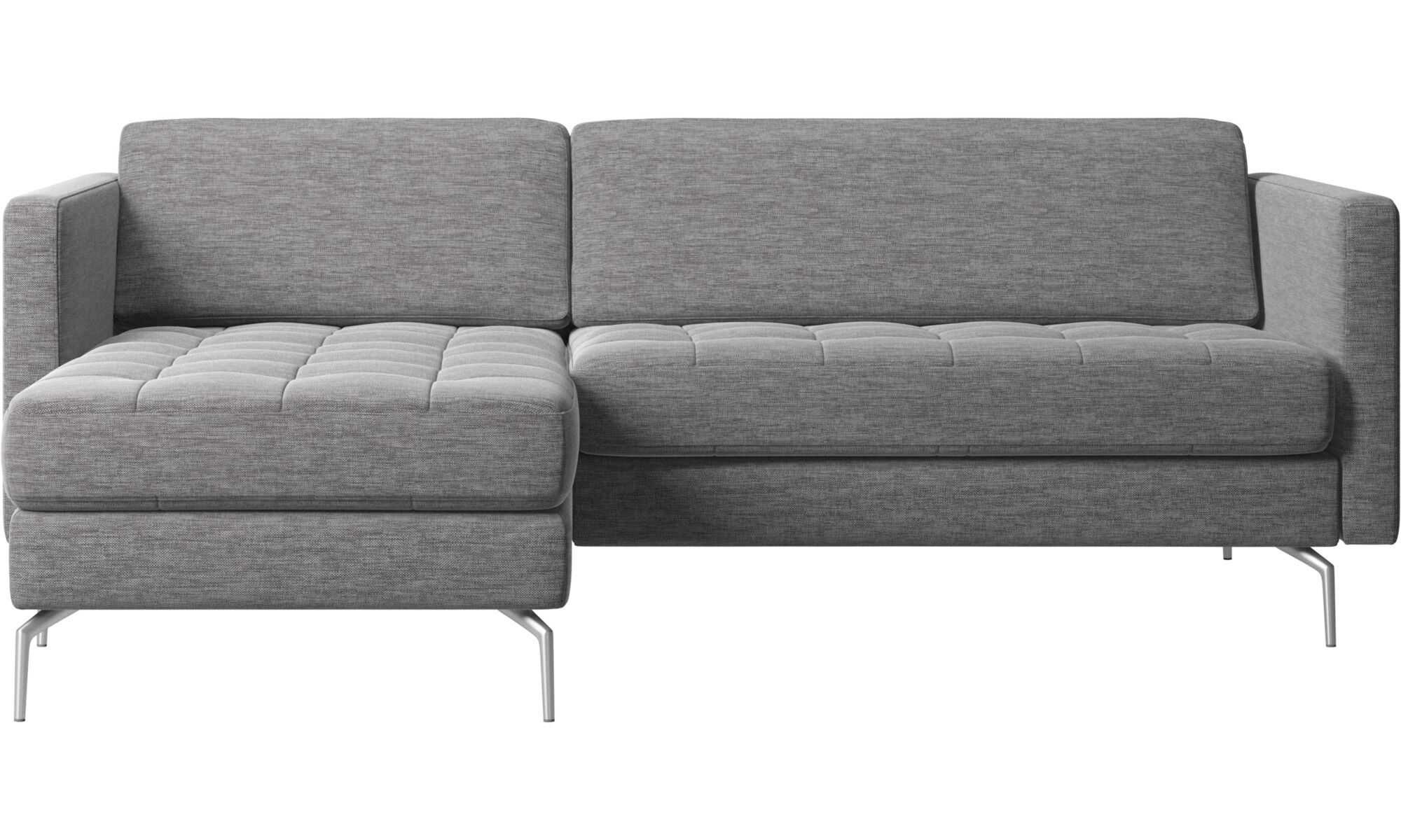 Chaise Lounge Sofas   Osaka Sofa With Resting Unit, Tufted Seat   Gray    Fabric
