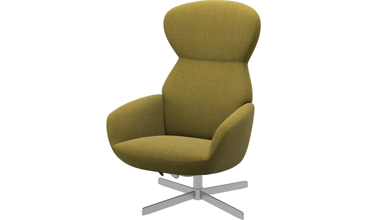Armchairs - Athena chair with reclining back function and swivel base - Yellow - Fabric