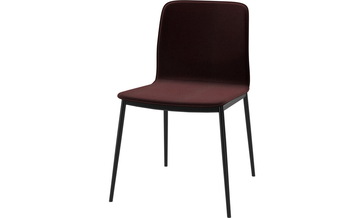 Dining chairs - Newport dinning chair with customized fabric and leather - Purple - Fabric