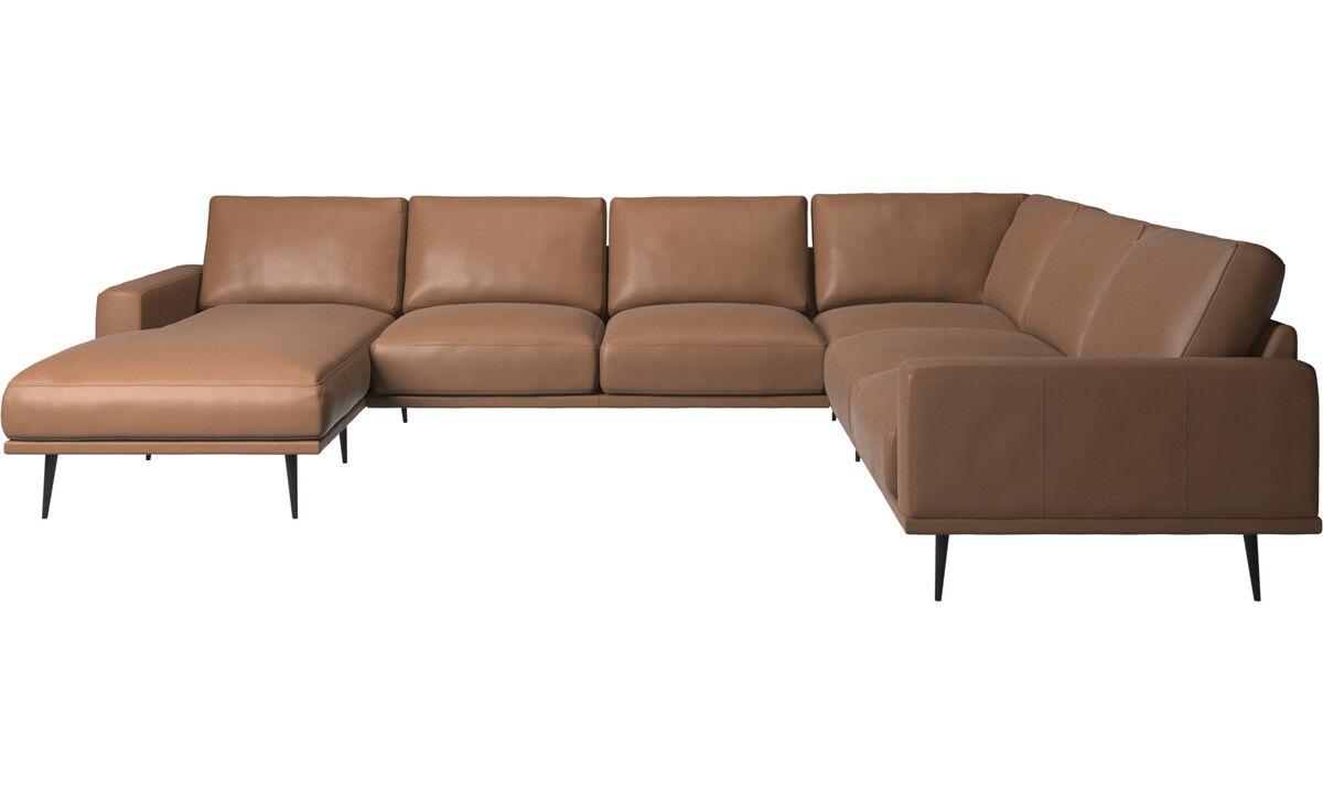 Sofás con chaise longue - sofá esquinero Carlton con módulo chaise-longue - En marrón - Piel